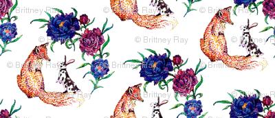 Fox & Rabbit Watercolor White