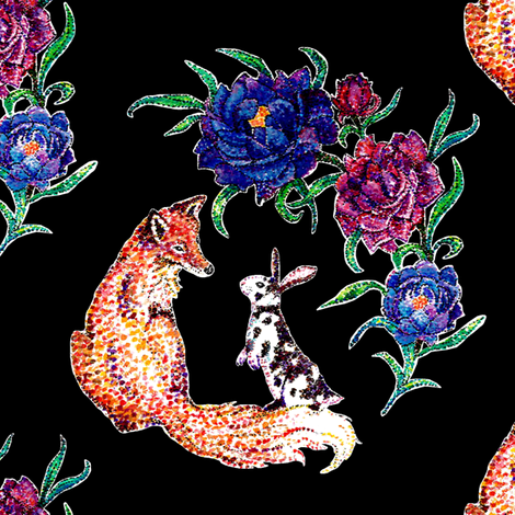 Fox & Rabbit Watercolor fabric by pond_ripple on Spoonflower - custom fabric