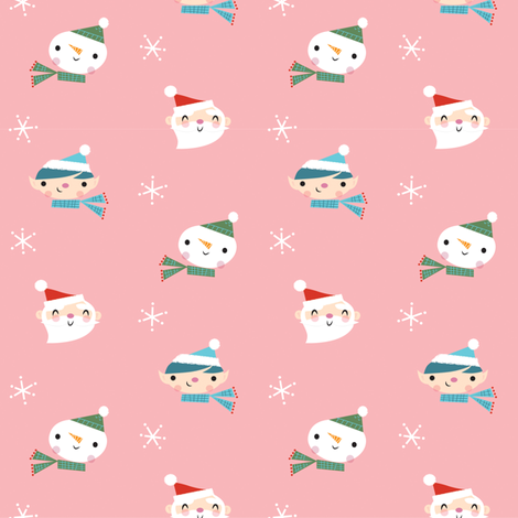 jolly faces rose fabric by shindigdesignstudio on Spoonflower - custom fabric