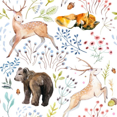 "8""  Wandering Around / Deer, Fox & Bear fabric by shopcabin on Spoonflower - custom fabric"