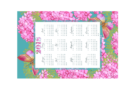 2018-Calendar - Butterflies & Blooms fabric by kathleen_bruce_illustration on Spoonflower - custom fabric