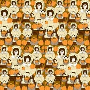 Pleasantly Plump Eunice Fall Pilgrim Lady Thanksgiving Fabric Collection