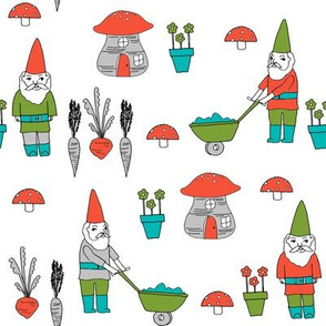 gnome garden // mushroom gnome fairytale fabric cute gnome characters - turquoise, green, red