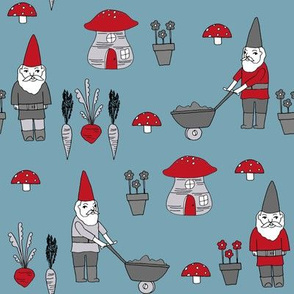 gnome garden // mushroom gnome fairytale fabric cute gnome characters - blue