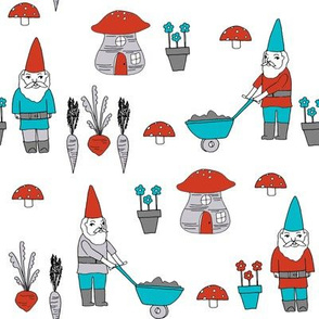 gnome garden // mushroom gnome fairytale fabric cute gnome characters - turquoise and red