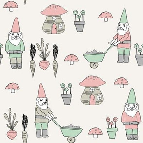 gnome garden // mushroom gnome fairytale fabric cute gnome characters - pink and mint
