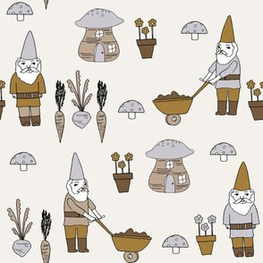 gnome garden // mushroom gnome fairytale fabric cute gnome characters - neutral