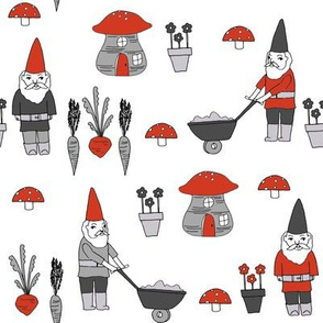 gnome garden // mushroom gnome fairytale fabric cute gnome characters - red and grey