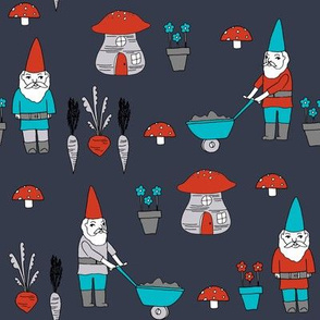 gnome garden // mushroom gnome fairytale fabric cute gnome characters - dark blue