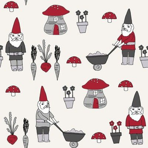 gnome garden // mushroom gnome fairytale fabric cute gnome characters - maroon