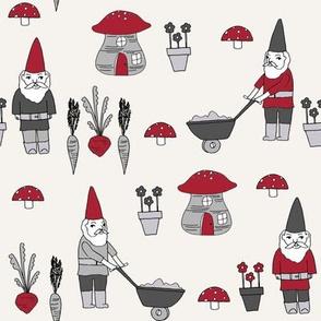 gnome garden // mushroom gnome fairytale fabric cute gnome characters - maroon