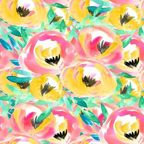 Tropical Summer Pink Watercolor Floral