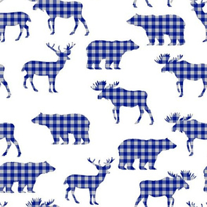 buffalo plaid animals - royal blue