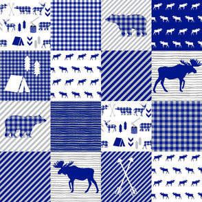 moose cheater quilt - royal blue