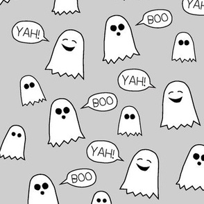 Boo Yah ghost fabric grey/ kids baby halloween clothes