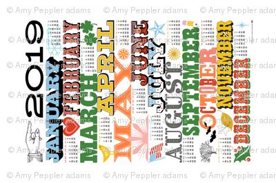 2019 Tea Towel Calendar Broadside*    wood type wood type typography diy cut and sew graphic design poster holidays heart bird flower sun flag star bats leaves holly western letterpress