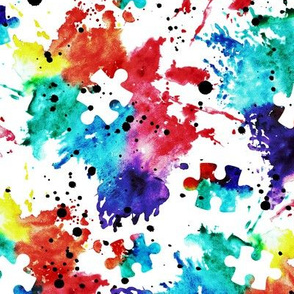 autism awareness - watercolor puzzle pieces with splatter
