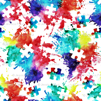 autism awareness watercolor splatter fabric w/ puzzle piece