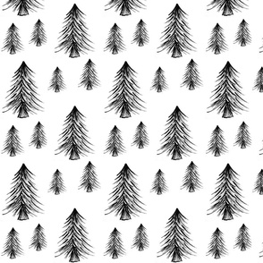 Forest Pine Trees / Christmas Tree / Monochrome Forest Woodland