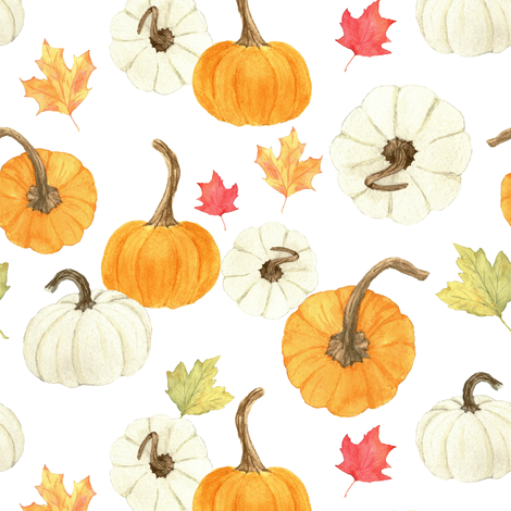 Pumpkins and Leaves fabric by mintpeony on Spoonflower - custom fabric