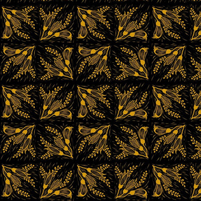 Kowhai blockprint in honey & black