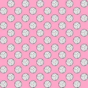 Half Inch Black and White Sports Volleyball Balls on Carnation Pink