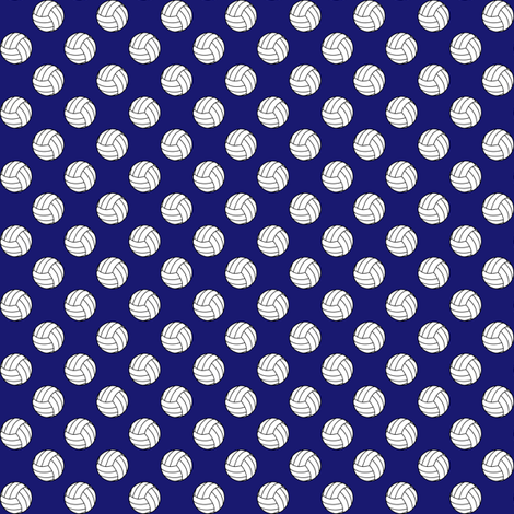 Half Inch Black and White Volleyballs on Midnight Blue fabric by mtothefifthpower on Spoonflower - custom fabric