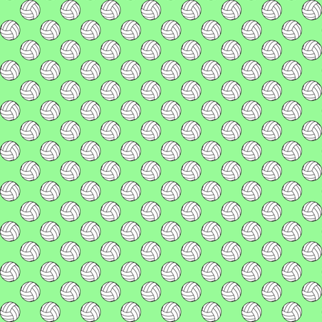 Half Inch Black and White Volleyballs on Mint Green fabric by mtothefifthpower on Spoonflower - custom fabric