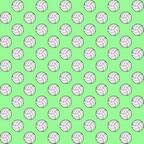 Half Inch Black and White Volleyballs on Mint Green