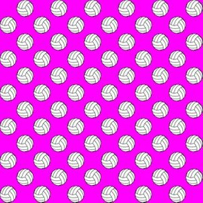 Half Inch Black and White Volleyballs on Magenta Pink