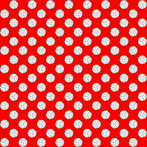 Half Inch Black and White Volleyballs on Red fabric by mtothefifthpower on Spoonflower - custom fabric