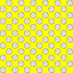 Half Inch Black and White Volleyball Balls on Yellow