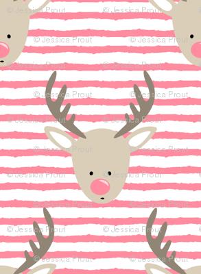 rudolph  - reindeer - pink stripes