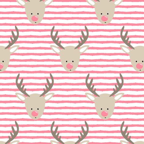 rudolph  - reindeer - pink stripes fabric by littlearrowdesign on Spoonflower - custom fabric