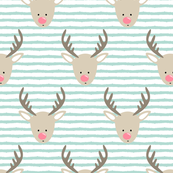 rudolph  - reindeer - dark mint w/ pink nose