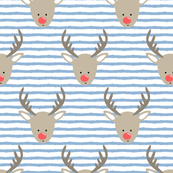rudolph  - reindeer - blue stripes