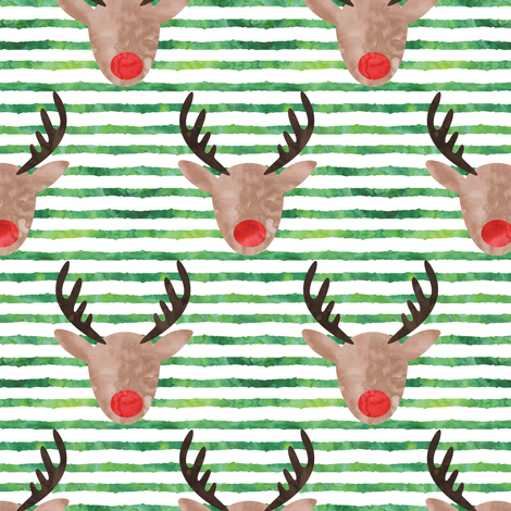 rudolph  - reindeer - watercolor fabric by littlearrowdesign on Spoonflower - custom fabric