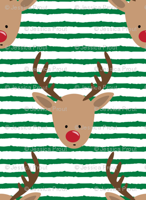 rudolph  - reindeer - green stripes