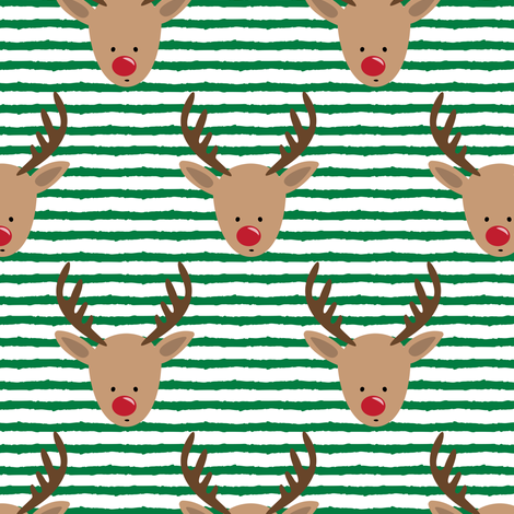 rudolph  - reindeer - green stripes fabric by littlearrowdesign on Spoonflower - custom fabric