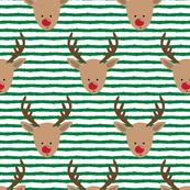 rudolph  - reindeer - green stripes