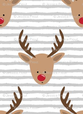 rudolph  - reindeer - grey stripes