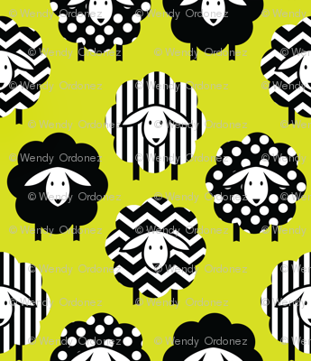 BLACK AND WHITE SHEEP ON LIME YELLOW GREEN