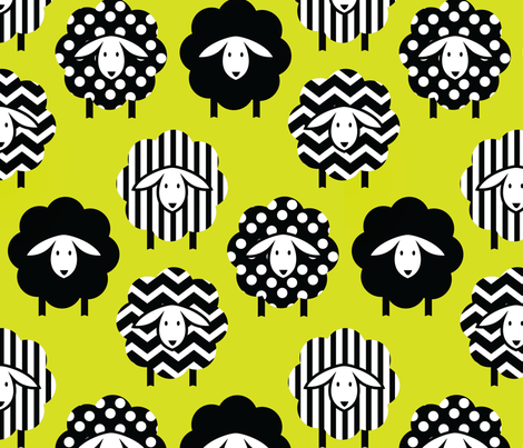 BLACK AND WHITE SHEEP ON LIME YELLOW GREEN fabric by wxstudio on Spoonflower - custom fabric