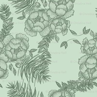 Peonies & Spruce