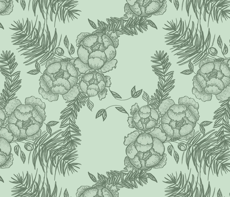 Peonies & Spruce fabric by copperspruce on Spoonflower - custom fabric