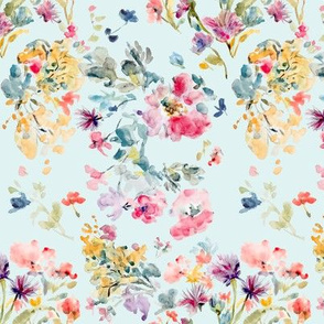 Dreamy Soft Floral In Minted Blue