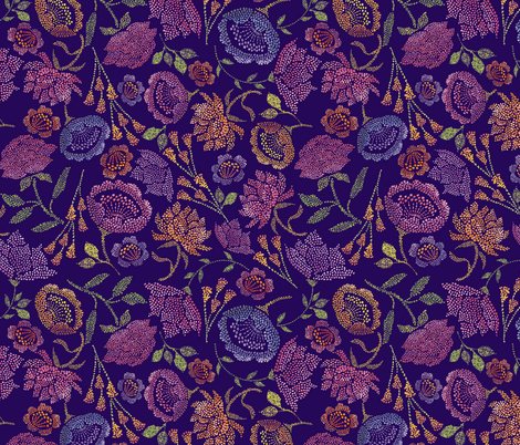 Passion Flowers {Indigo} fabric by ceciliamok on Spoonflower - custom fabric
