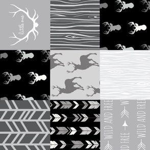 Patchwork Deer - Grayscale - rotated