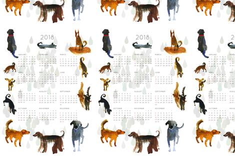 Calendar 2018 Dog Year fabric by ullamermaid on Spoonflower - custom fabric