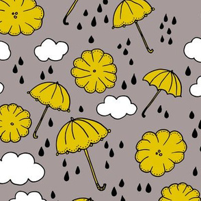 Rainy day head in the clouds umbrella love  illustration yellow pattern design